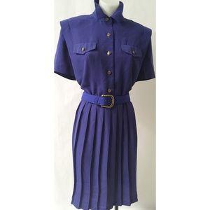 Blue Pleated Vintage Dress Size 12P